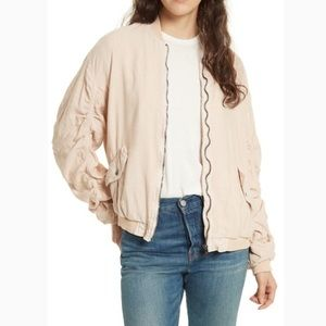 Free People Ruched Linen Bomber Jacket Lined XS